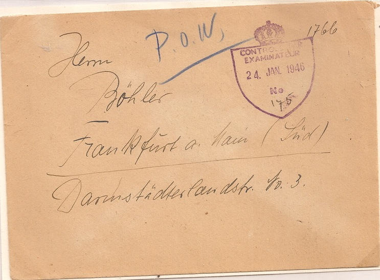 1946 German POW Luxembourg outbound censored cover
