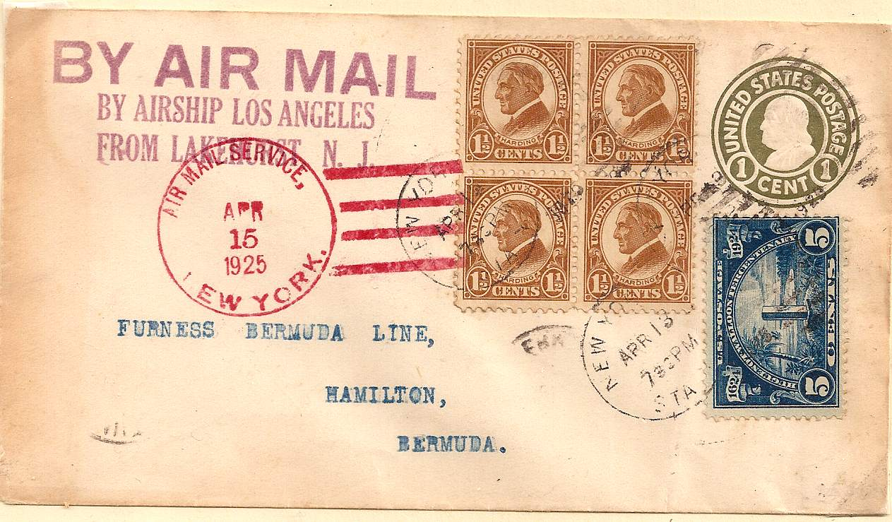 1925 USA to Bermuda airship airmail cover