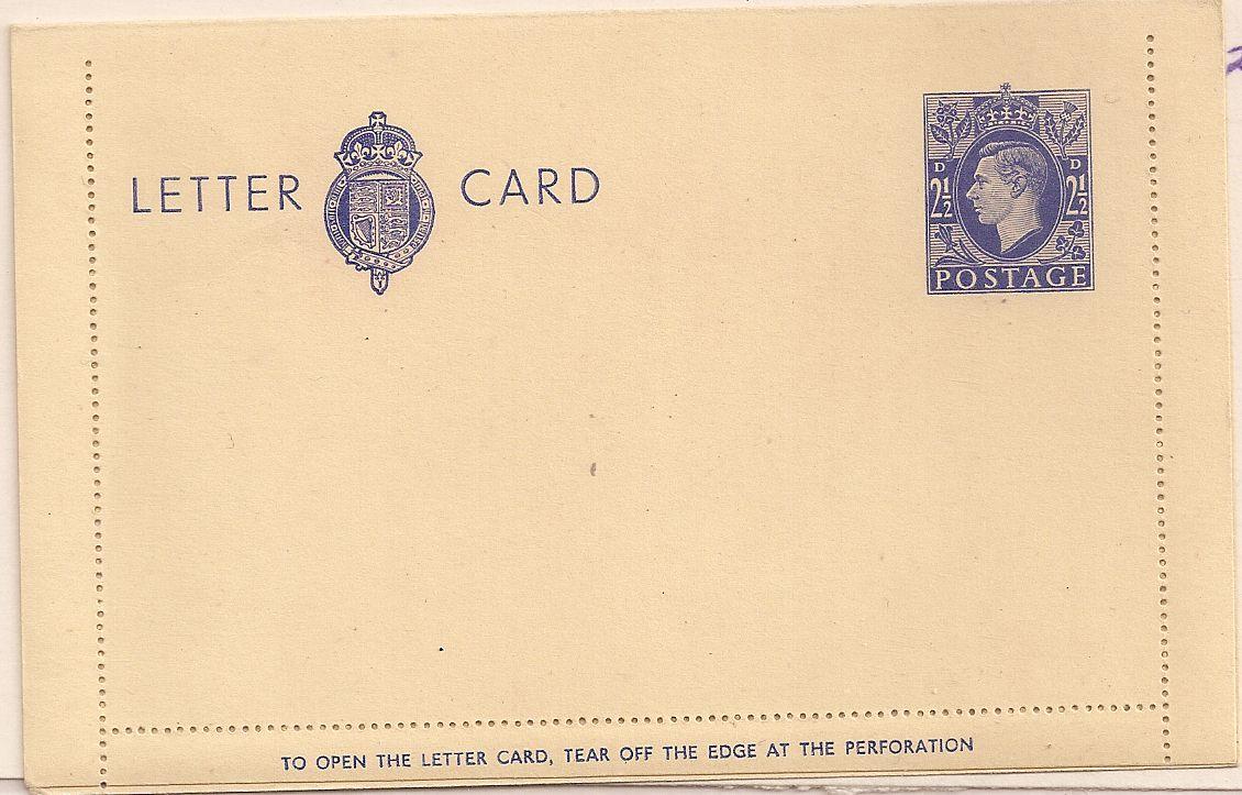 1940 King George VI 2½d blue unused letter card