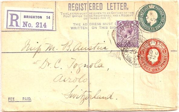1921 King George V 4d green plus 1d carmine registered envelope