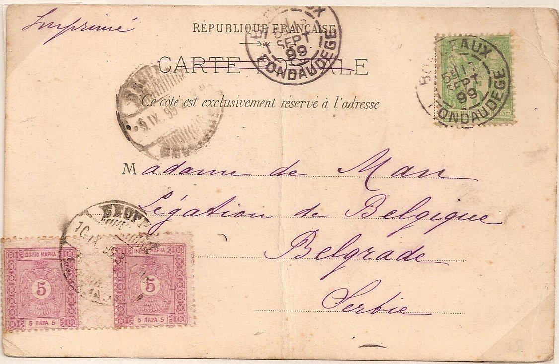 1899 French PPC with Serbian 5 para postage dues gutter pair