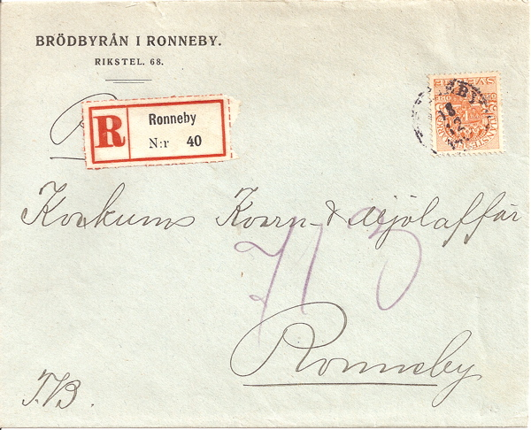 1919 Sweden registered cover with 25 ore Tjanste Frimarke stamp used in Ronneby