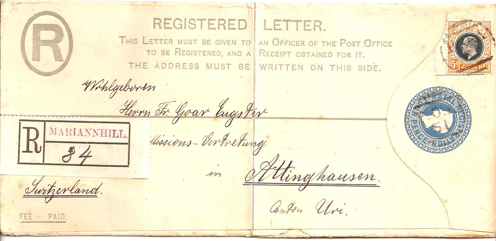 1909 Natal QV 4d registered envelope used with POA51 MARIANNHILL