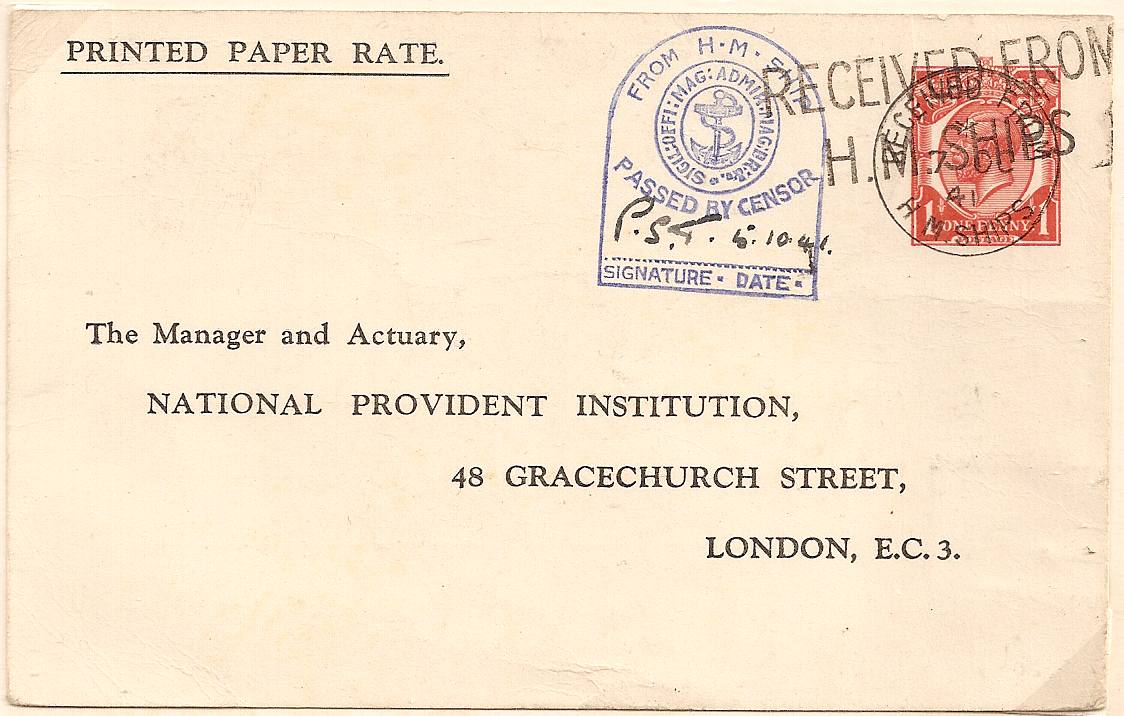 1941 Late usage King George V 1d STO postal stationery postcard by Naval personnel