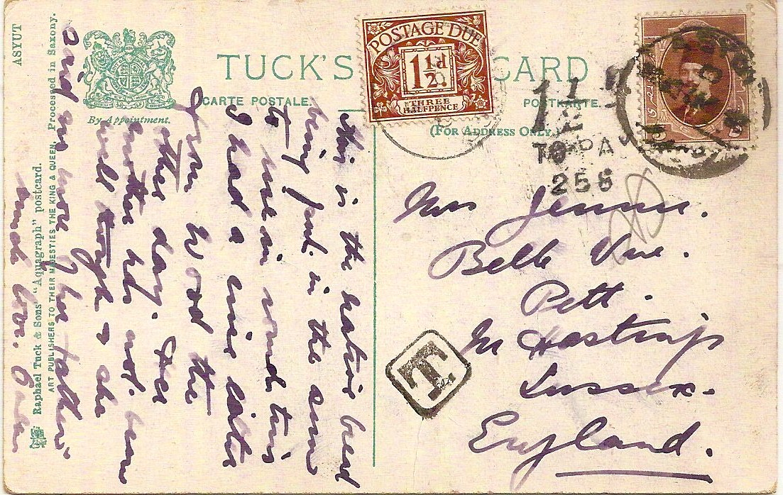 1924 PPC Egypt to Hastings: undercharged with scarce 1½d Postage Due/258 Charge Marking