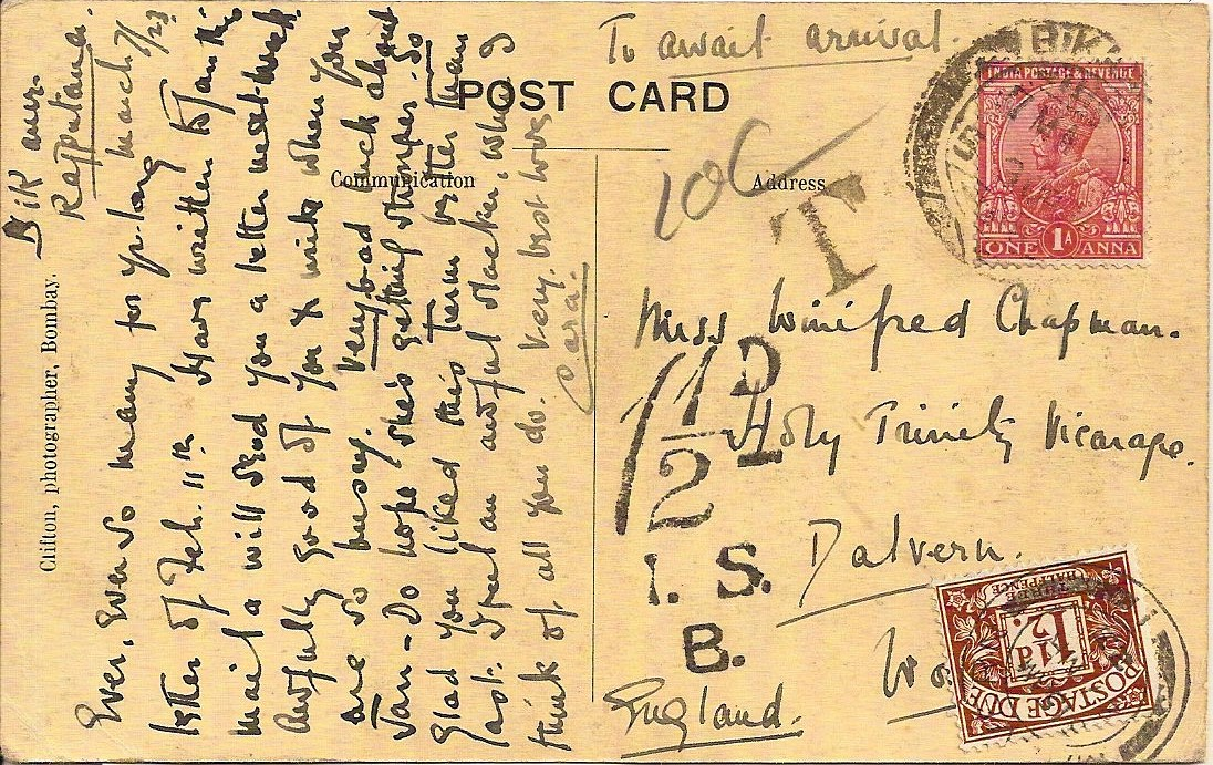 1923 India PPC to Dalvern: 1 1/2d Postage Due - deeper shade