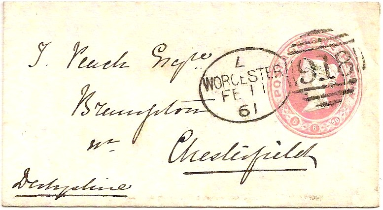 1861 Superb WORCESTER Spoon code L on tiny postal stationery envelope - late date