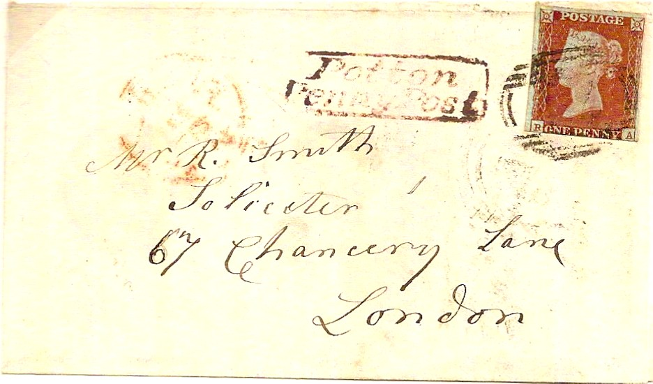 1845 POTTON PENNY POST in red under Biggleswade on small cover
