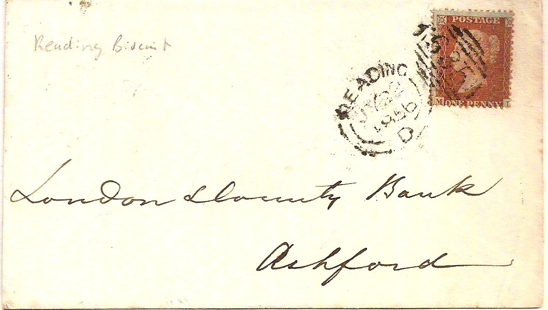 1856 Neat READING biscuit duplex on bank envelope to Ashford