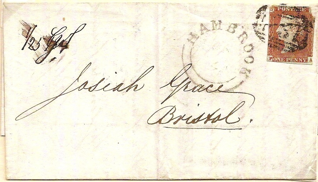 1849 HAMBROOK seriffed udc on entire; 3-line Postage Paid in blue on reverse