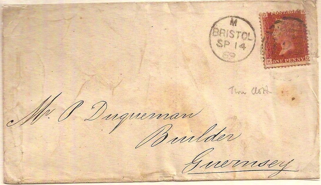 1869 QV 1d plate cover w/BRISTOL 134 Struck Through Cloth
