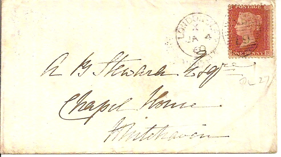 1860 Cover from London with HENSINGHAM udc of arrival Nr Whitehaven