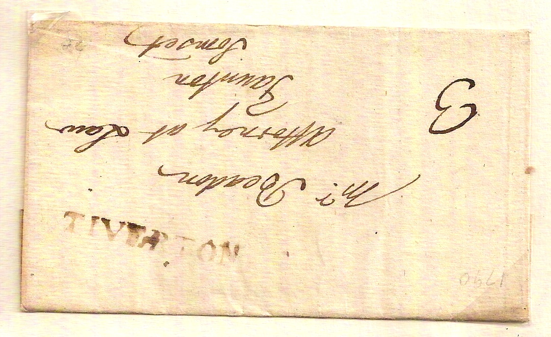 1790 Straight Line TIVERTON on entire to Taunton with manuscript 3d charge
