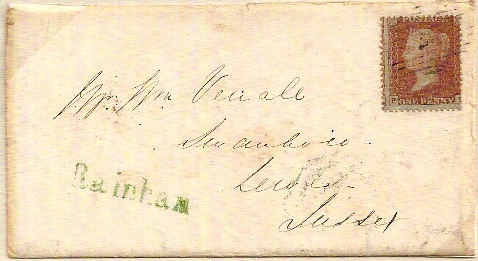 1856 Fine green seriffed RAINHAM on QV 1d red env to Sussex - very rare
