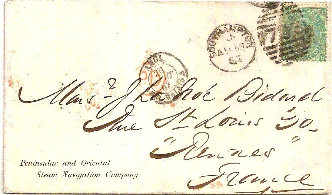 1867 SOUTHAMPTON 5 Bar Duplex on One Shilling P&O cover to France