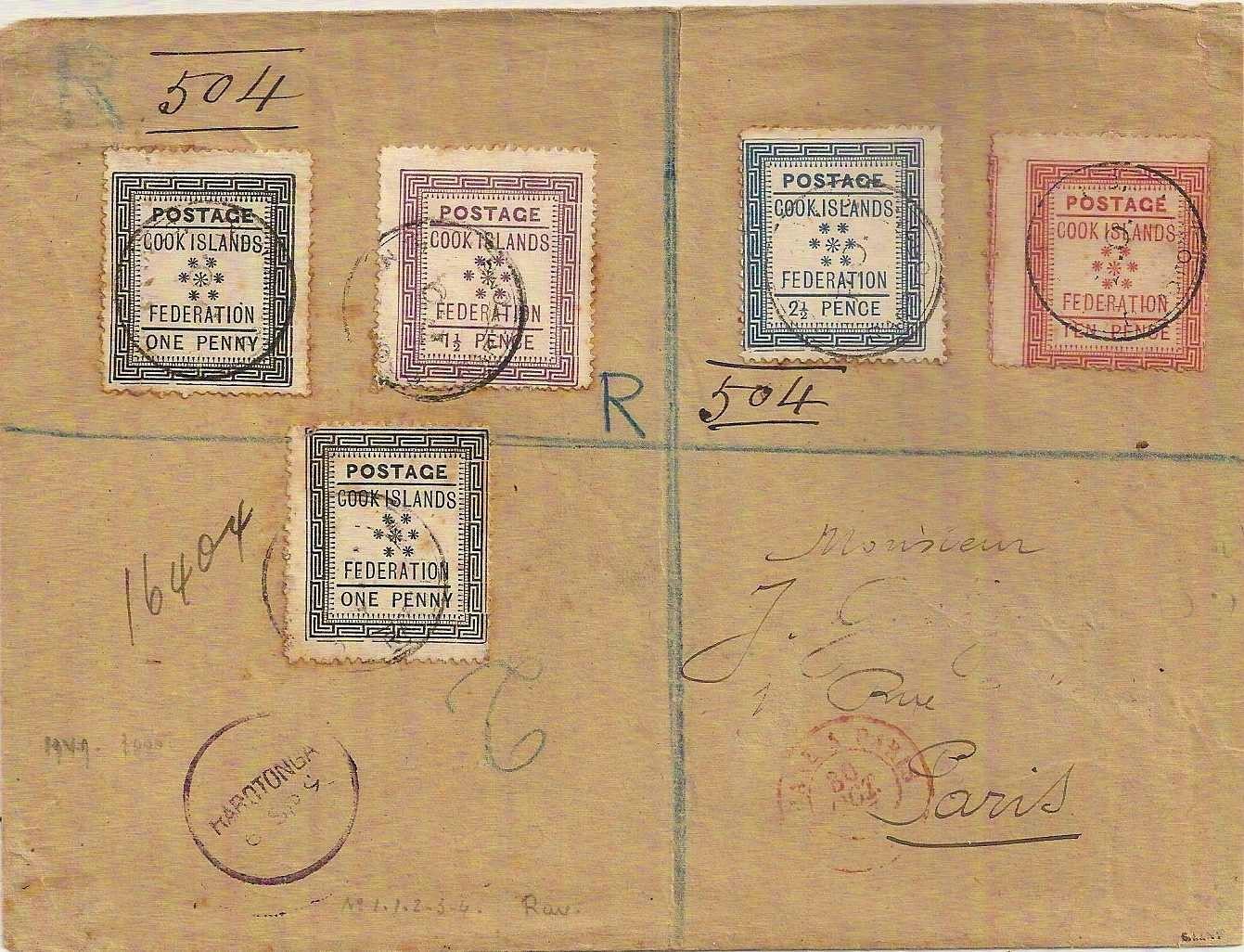 1892 Registered COOK ISLANDS cover to Paris w/first issue set of four plus additional 1d