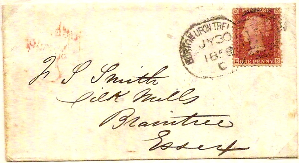1858 BURTON UPON TRENT spoon cancel code C on envelope
