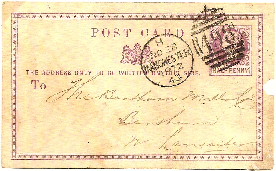 1872 MANCHESTER clip/punch cancel and 498 duplex on QV ½d postcard