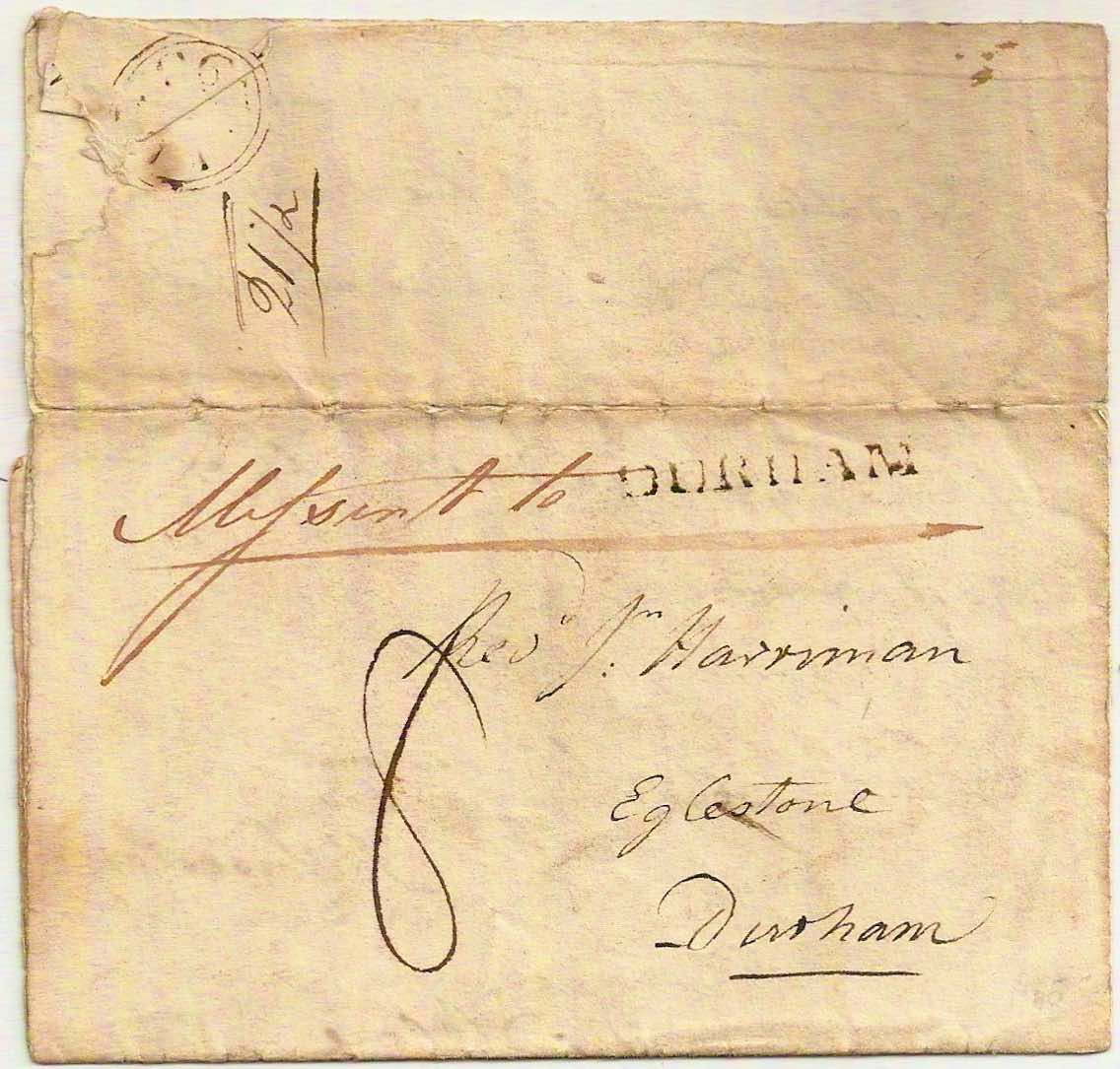 1796 Neat Mifst (Missent) to DURHAM on entire from James Sowerby naturalist/illustrator