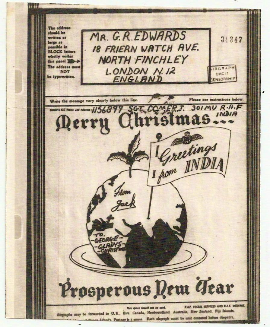 c1944 RAF India pictorial Xmas greetings airgraph: Christmas pudding