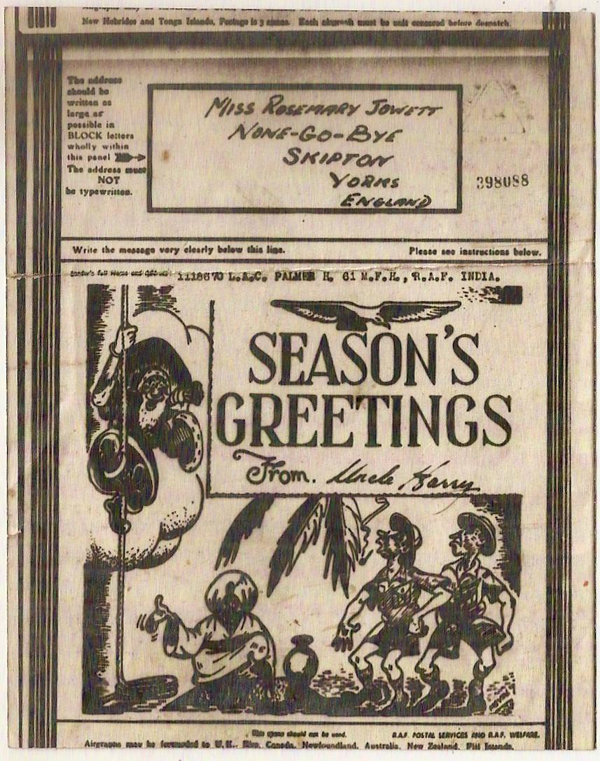 1943 Season's Greetings airgraph Santa Claus on Indian rope trick