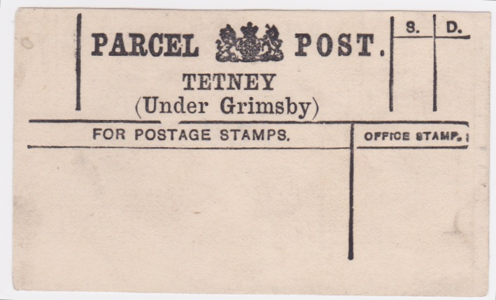 c1900 TETNEY (Under Grimsby) Parcel Post label