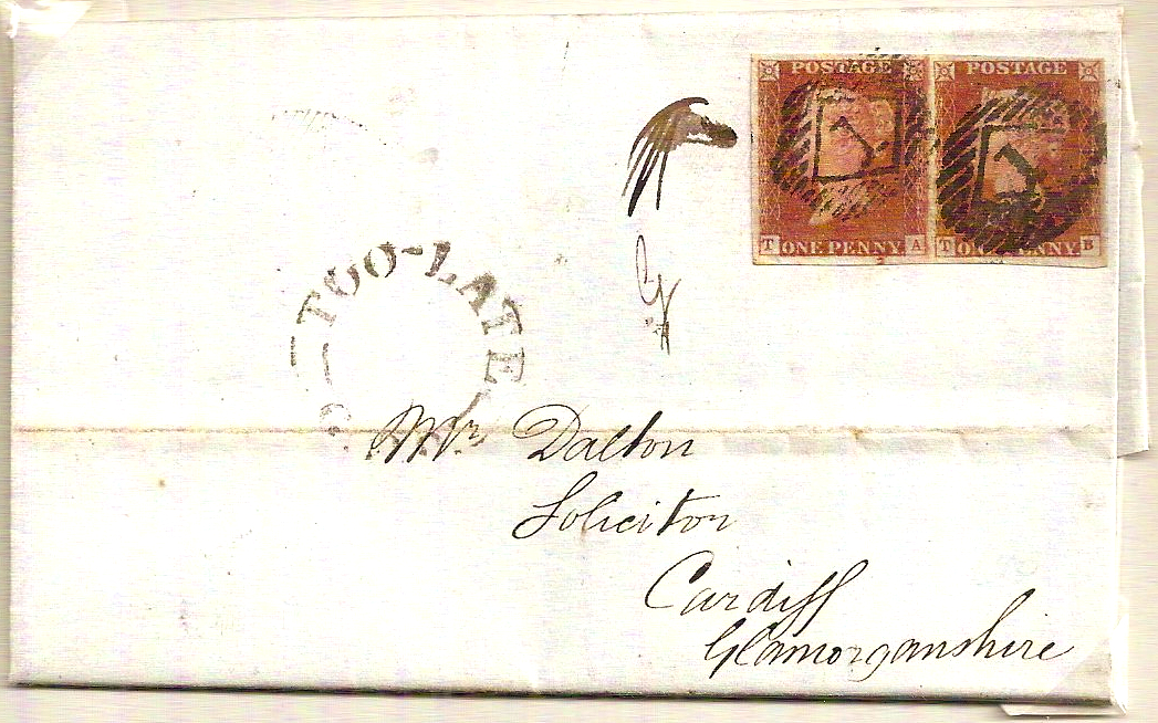 1847 QV 1d imperf pair w/TOO LATE GPO & 1 numeral cancels