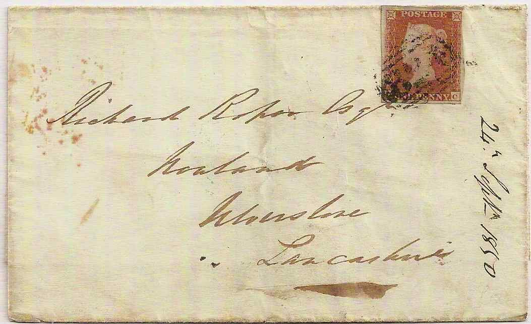1850 QV 1d 4-margin imperf Env Guernsey to Ulverstone 824 numeral & 3 skeleton in blue