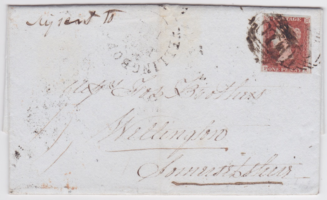1845 Missent to WELLINGBOROUGH Northants QV 1d 4-margin imperf entire to Wellington, Somerset