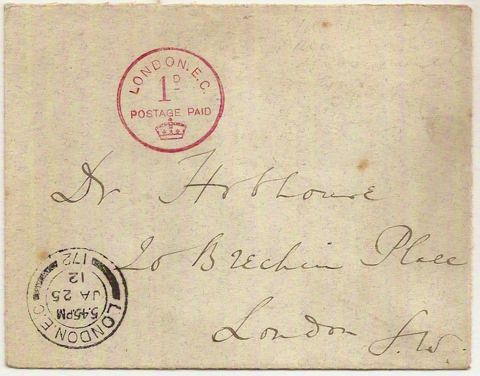 1912 Wilkinson Experimental Franking Postage Paid 1d First Day of Issue
